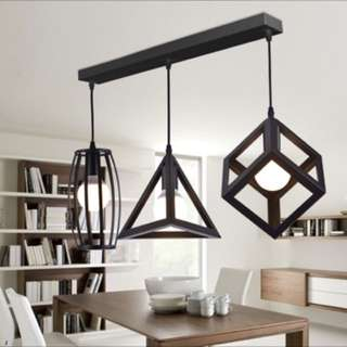 three shapes hanging light black