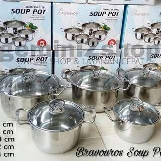 Panci Soup Pots 5Pcs Tutup Kaca