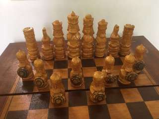 """Vintage Russian chess set - hand carved - 17""""x 17 """""""
