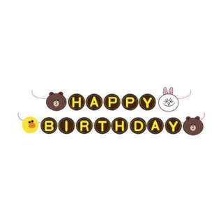 Line friends birthday party flags Brown and Cony