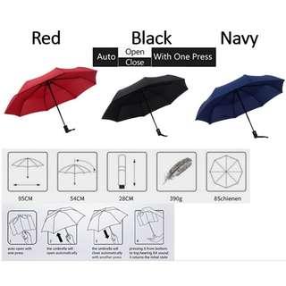 Durable Fashionable Fully-Automatic UV-proof Three Folding Business Solid Sunshade Rain Umbrella