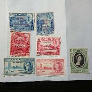 亞丁及其屬地郵票(二戰勝利及女皇登基)