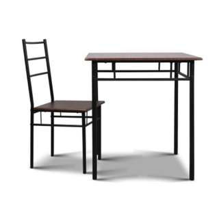 Industrial Dining Table and Chairs Set Walnut and Black SKU: MET-DESK-356-WN