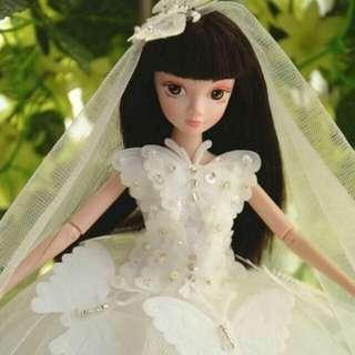 🚚 【娃衣】芭比手工訂製蝴蝶款唯美婚紗禮服