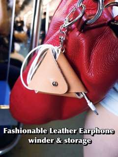 Leather pouch and winder for earphones/ earbuds