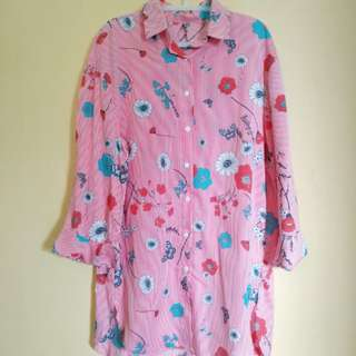 Long shirt flower & butterfly
