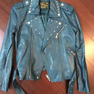 Blue heroes heros hero leather jacket 皮褸