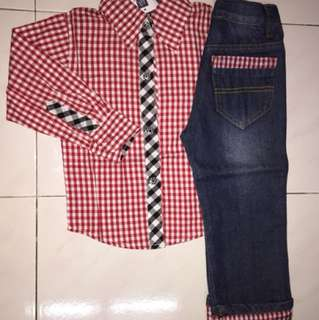 Kemeja & seluar jeans kanak-kanak lelaki