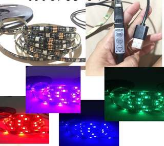 High quality 5V USB plug RGB LED STRIP LIGHT with built in remote
