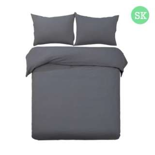 Super King 3-piece Quilt Set Charcoal SKU: QCS-MF-CL-SK