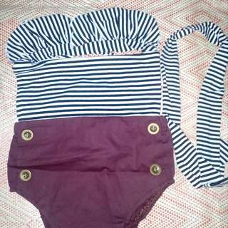 Summer baby suit maroon stripes