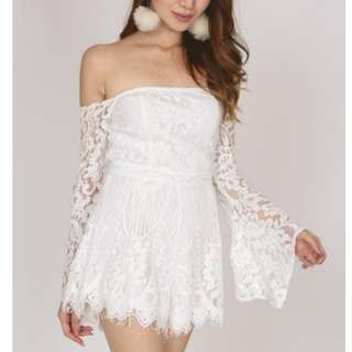 BNWT Off Shoulder Lace Romper in White