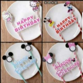 Hello kitty/Mickey and Minnie Birthday cake topper decorations