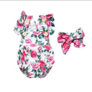 BN 3mths Rose Cotton Romper with Headband