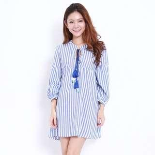 (PO) Stripes Tassel Babydoll Dress
