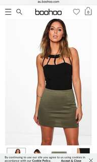 boohoo khaki skirt