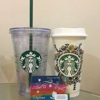 2 Starbucks Tumblers with Unused Limited Edition Card