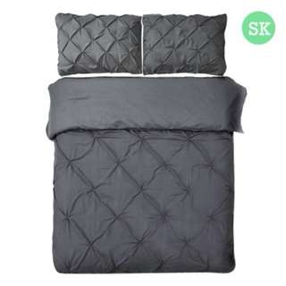 Super King 3-piece Quilt Set Charcoal SKU: QCS-DIAM-CL-SK