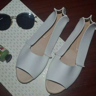 White Open Toe Dollshoes