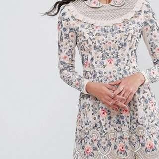 Needle and thread whisper long sleeve embellished dress pink
