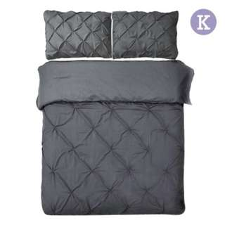 King 3-piece Quilt Set Charcoal SKU: QCS-DIAM-CL-K