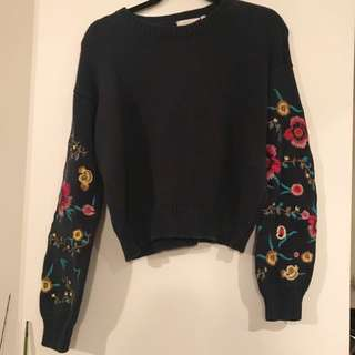 Gorgeous embroidered sleeve jumper