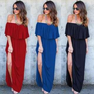 NEW! Off shoulder maxi dress