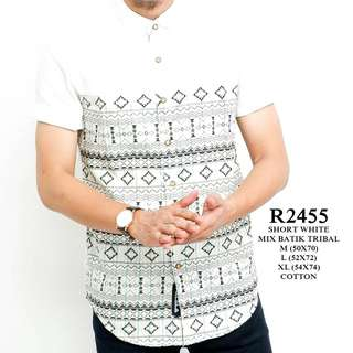 Short white mix batik triba