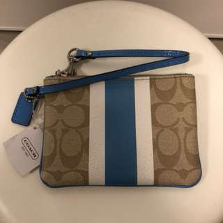 New Coach Small Wallet Pouch Bag Brown Blue Stripes