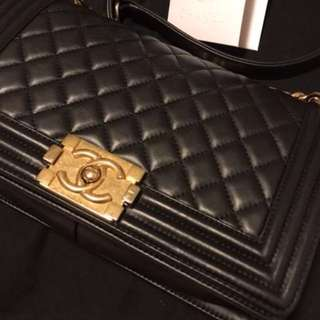 (Full Set) Chanel Le Boy 25cm GHW black x Gold