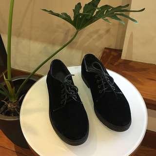 Topshop Black Velvet Oxfords