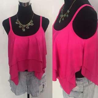 Hot Pink Crop Boho Top