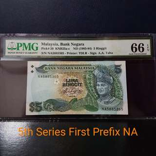🇲🇾 Malaysia 5th Series RM5 Banknote~First Prefix NA~PMG 66EPQ Gem Uncirculated
