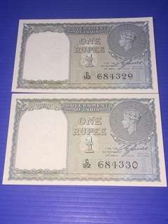India KG One Rupee Year 1940 2 Runs UNC