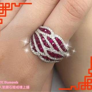 18K白金紅寶鑽石戒指