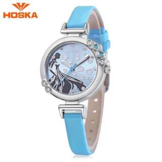 HOSKA H802S CHILDREN QUARTZ WATCH 3ATM LUMINOUS RHINESTONE DIAL SLENDER LEATHER BAND WRISTWATCH (BLUE) 0