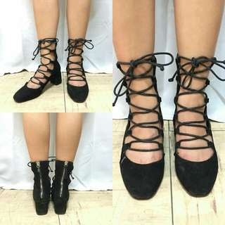 Black Gladiator Shoes with 2 inches heels