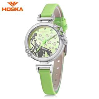 HOSKA H802S CHILDREN QUARTZ WATCH 3ATM LUMINOUS RHINESTONE DIAL SLENDER LEATHER BAND WRISTWATCH (GREEN) 0