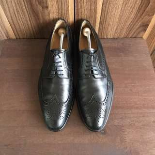 Santos by Carlo Santos Black Wingtip Formal Dress Leather Shoes