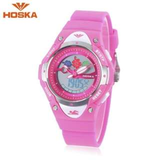 HOSKA HD023S DUAL MOVT CHILDREN QUARTZ DIGITAL WATCH LUMINOUS DATE DAY DISPLAY 5ATM WRISTWATCH (DEEP PINK) 0