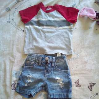 pair tattered shorts/shirt