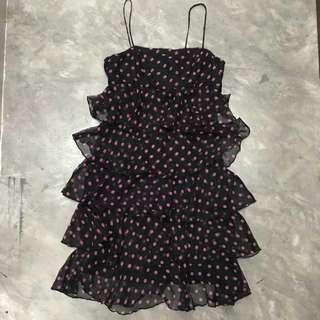 Dark blue and pink polka dot chiffon cocktail dress