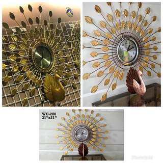 peacock clock, tree, sun (Handmade Clocks)