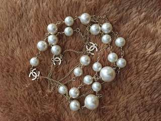 Chanel Faux Pearl Long Necklace