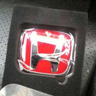 Honda red steering emblem type R Js Racing