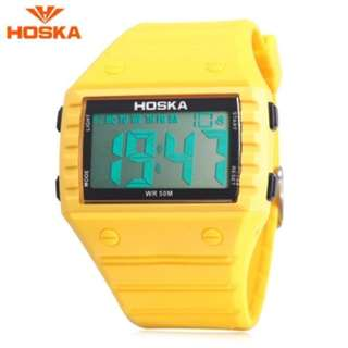 HOSKA H033B CHILDREN DIGITAL WATCH ALARM CHRONOGRAPH DAY LED DISPLAY RECTANGLE DIAL 5ATM WRISTWATCH (YELLOW) 0