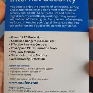 Mcafee Internet security 36 months