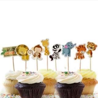 8pcs Animal Zoo Safari Cupcake Toppers Cake Topper Muffin Decoration Baking Picks Birthday Party