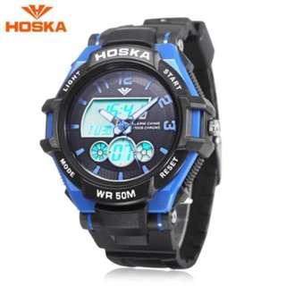 HOSKA HD027B CHILDREN DUAL MOVT WATCH DATE DAY DISPLAY BACKLIGHT STOPWATCH ALARM 5ATM WRISTWATCH (BLUE) 0