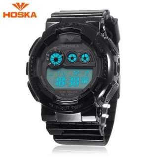 HOSKA H017B CHILDREN DIGITAL WATCH ALARM CHRONOGRAPH LED CALENDAR 3ATM SILICONE BAND WRISTWATCH (BLACK) 0